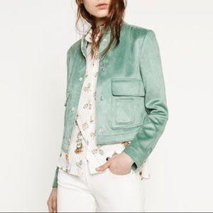 Zara Mint Suede Effect Jacket